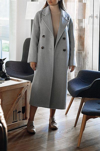 Двубортное пальто c рукавом реглан Blue WNDR_fw1920_cgrbl02, фото 1 - в интеренет магазине KAPSULA