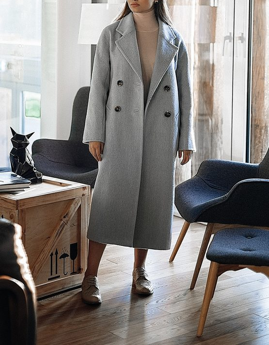 Двубортное пальто c рукавом реглан WNDR_fw1920_cgrbl02, фото 6 - в интеренет магазине KAPSULA