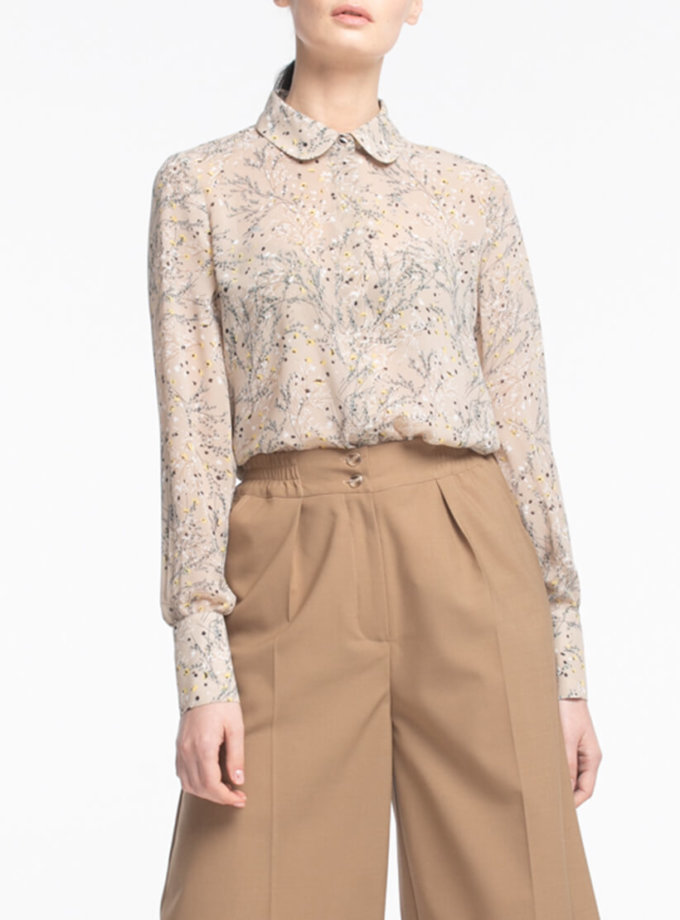 Шифоновая блуза с широким манжетом ALOT_020180, фото 1 - в интернет магазине KAPSULA