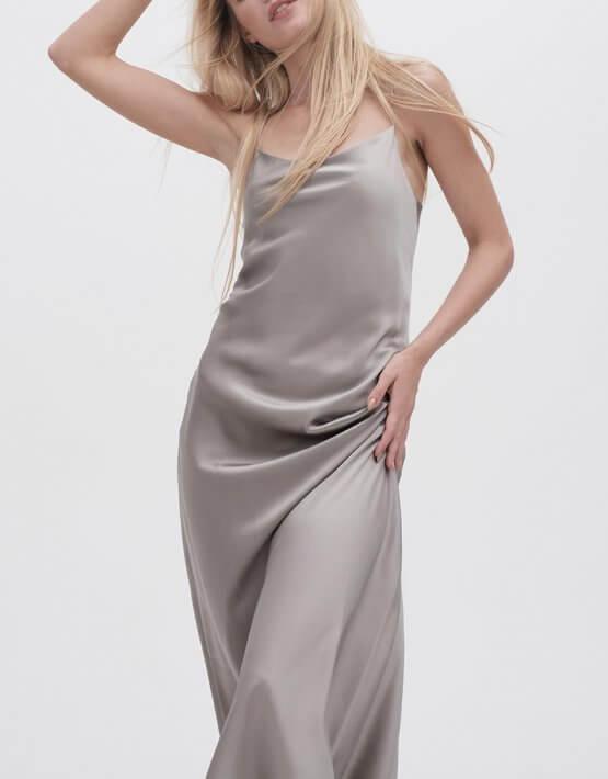Платье на тонких бретельках MISS_DR-021-gray, фото 7 - в интеренет магазине KAPSULA