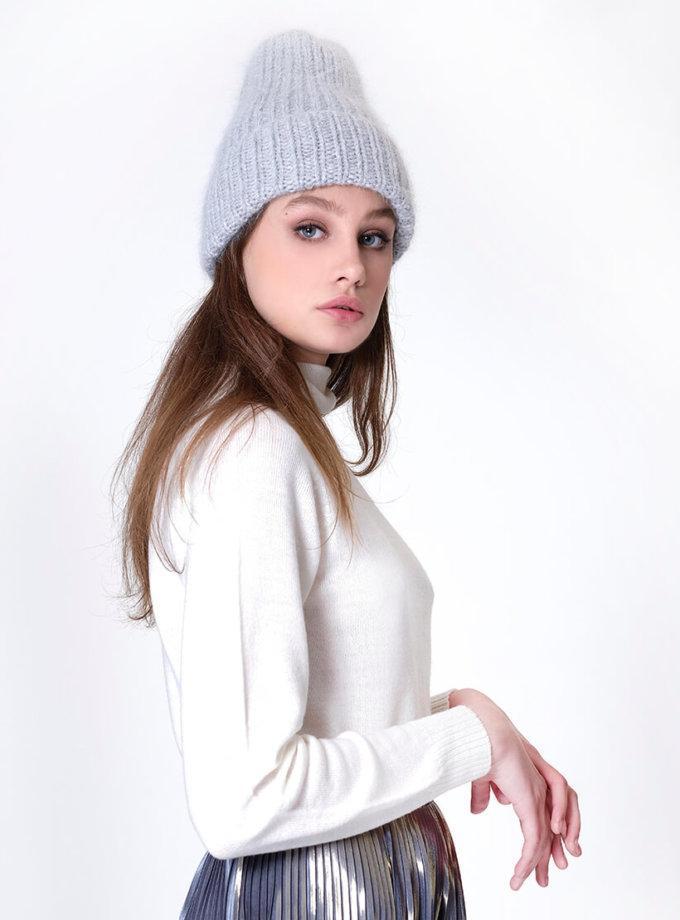 Шапка с отворотом из ангоры MISS_HAT-002-gray, фото 1 - в интернет магазине KAPSULA