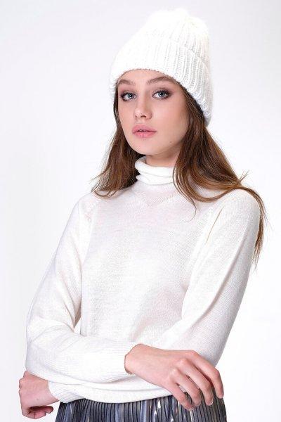 Шапка с отворотом из ангоры MISS_HAT-002-white, фото 1 - в интеренет магазине KAPSULA