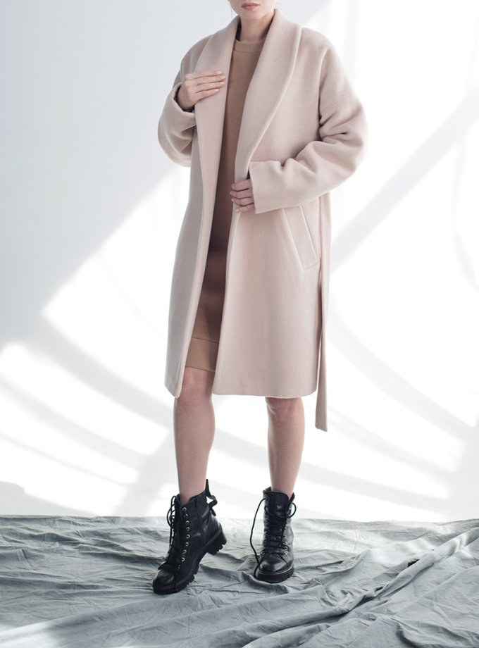Пальто на запах из шерсти CYAN_CT_M01, фото 1 - в интеренет магазине KAPSULA