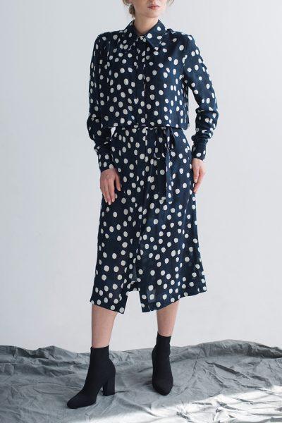 Платье-рубашка с поясом CYAN_DS_M01, фото 1 - в интеренет магазине KAPSULA