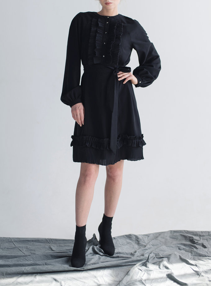 Платье с гофрированными вставками CYAN_DS_M02, фото 1 - в интернет магазине KAPSULA