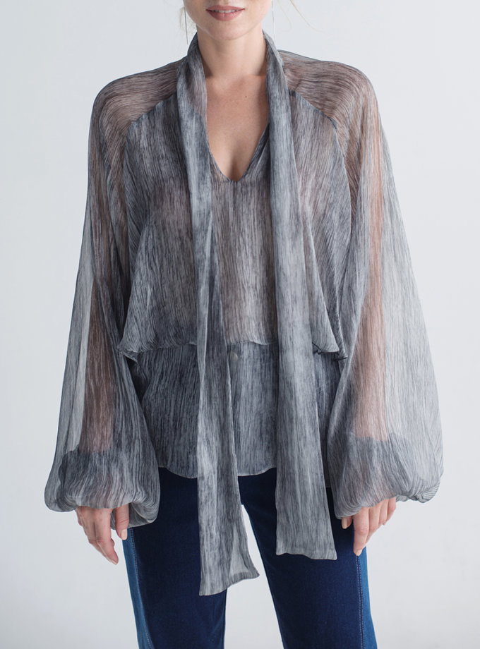 Шелковая блуза CYAN_TP_M01, фото 1 - в интеренет магазине KAPSULA