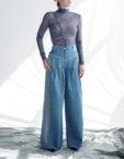 Прямые джинсы на высокой посадке CYAN_TR_M02, фото 5 - в интеренет магазине KAPSULA