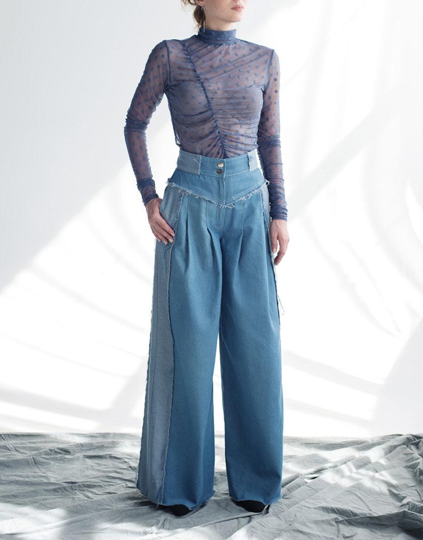 Широкие джинсы на высокой посадке CYAN_TR_M01, фото 1 - в интернет магазине KAPSULA