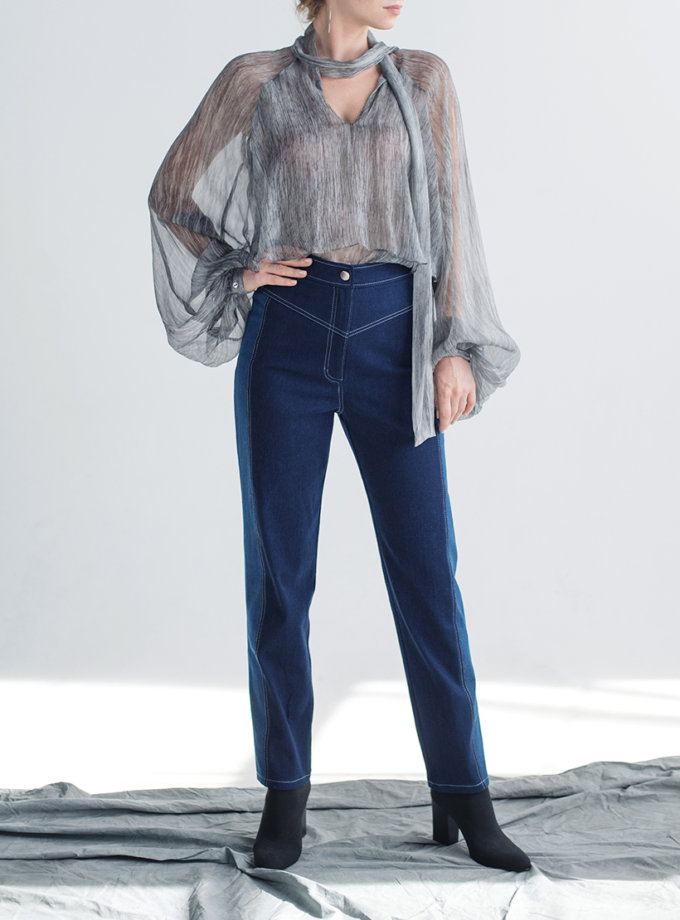 Прямые джинсы на высокой посадке CYAN_TR_M02, фото 1 - в интеренет магазине KAPSULA