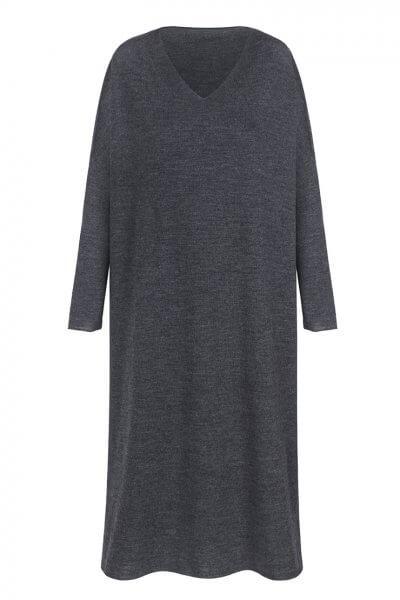 Вязаное платье-туника из шерсти мериноса MISS_DR-Wool-001-gray, фото 7 - в интеренет магазине KAPSULA
