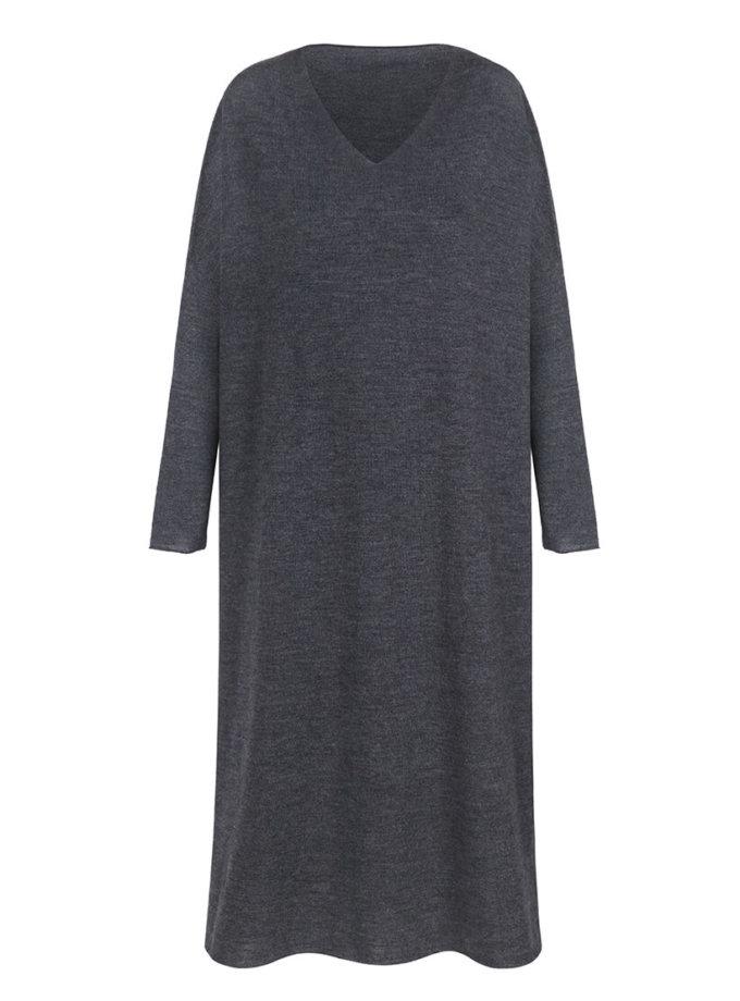 Вязаное платье-туника из шерсти мериноса MISS_DR-Wool-001-gray, фото 1 - в интеренет магазине KAPSULA