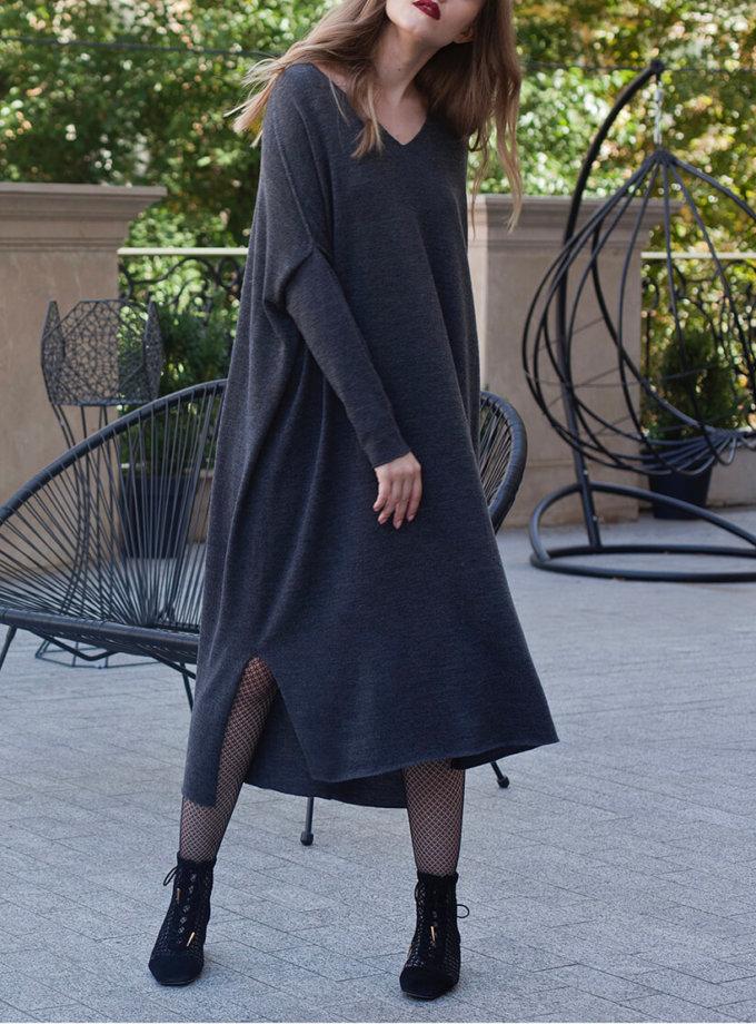 Вязаное платье-туника из шерсти мериноса MISS_DR-Wool-001-gray, фото 1 - в интернет магазине KAPSULA