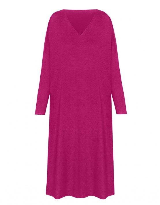 Вязаное платье-туника из шерсти мериноса MISS_DR-Wool-001-pink, фото 4 - в интеренет магазине KAPSULA