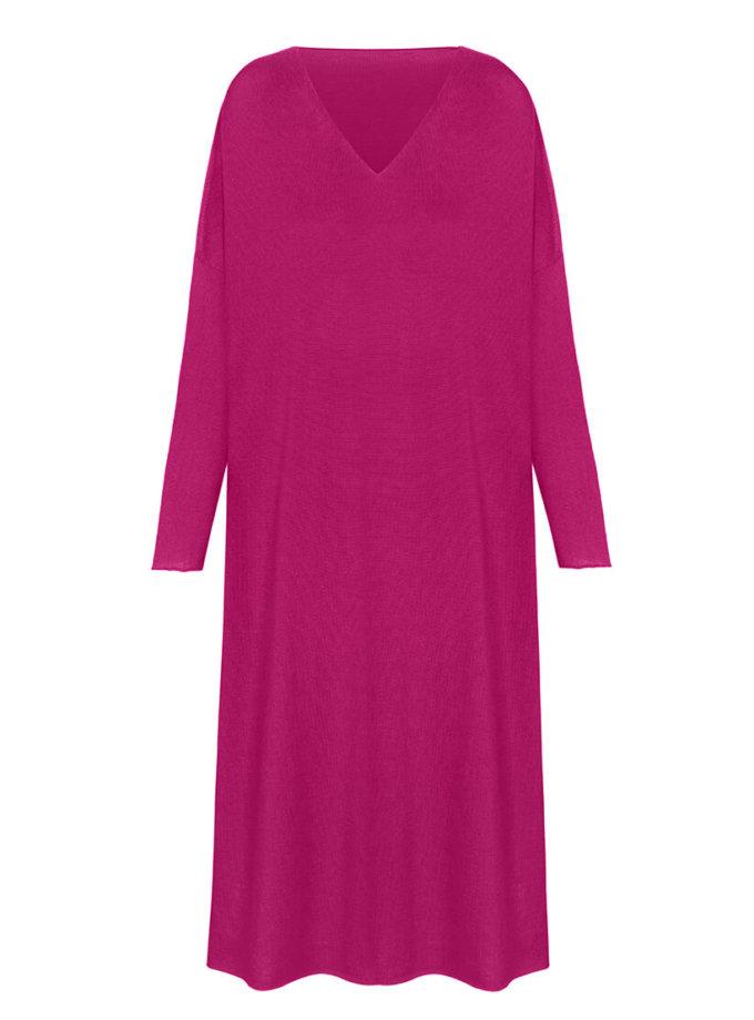 Вязаное платье-туника из шерсти мериноса MISS_DR-Wool-001-pink, фото 1 - в интеренет магазине KAPSULA