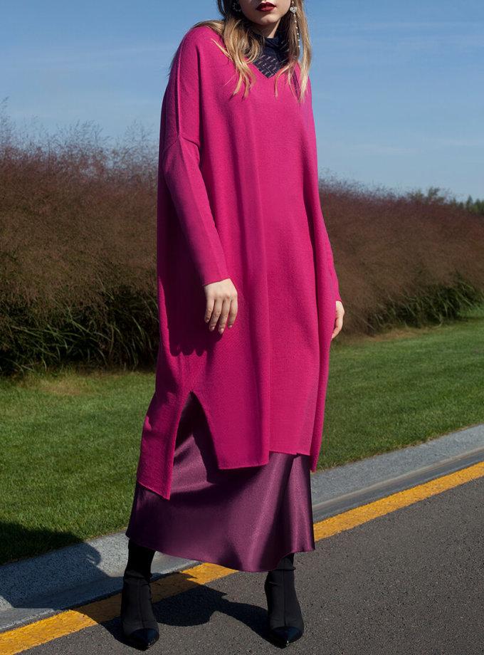 Вязаное платье-туника из шерсти мериноса MISS_DR-Wool-001-pink, фото 1 - в интернет магазине KAPSULA