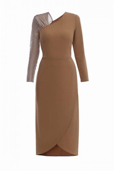 Платье с комбинированными рукавами MNTK_MTDRS2041, фото 1 - в интеренет магазине KAPSULA