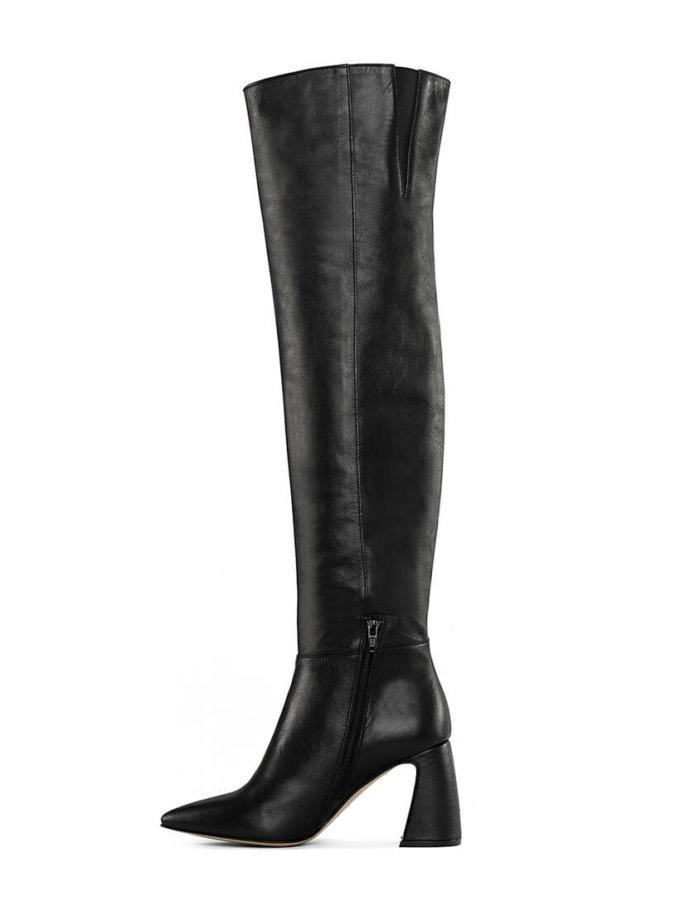 Кожаные ботфорты BLACK MRSL_722402, фото 1 - в интеренет магазине KAPSULA