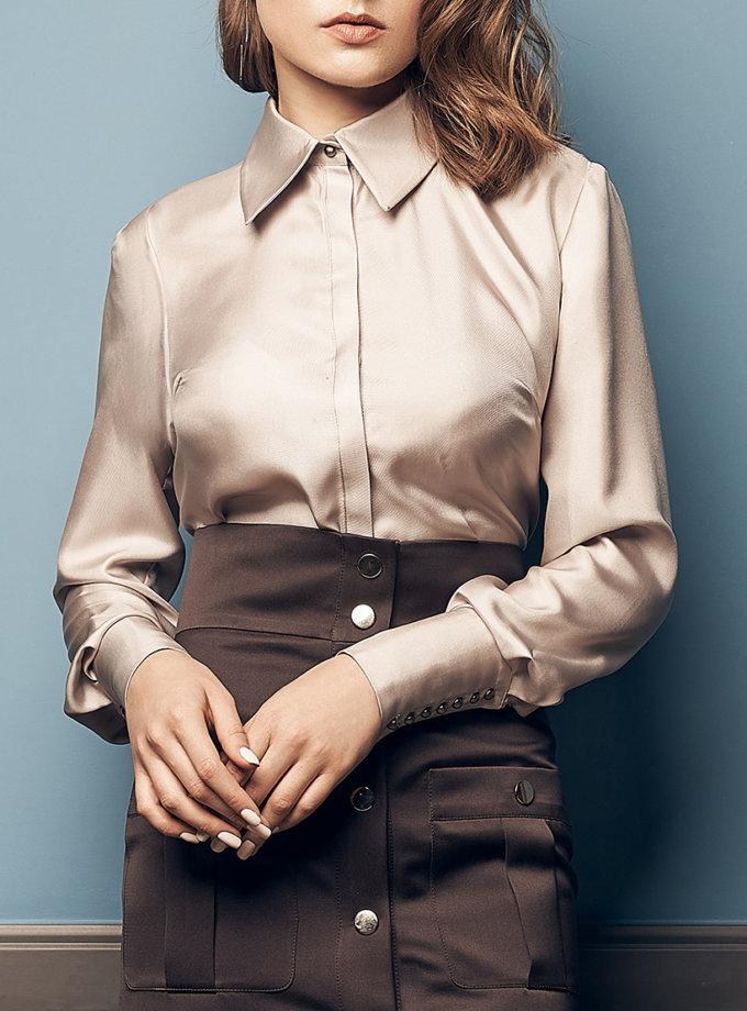Рубашка свободного кроя из шелка SOL_SOW2019SH10_outlet, фото 1 - в интернет магазине KAPSULA
