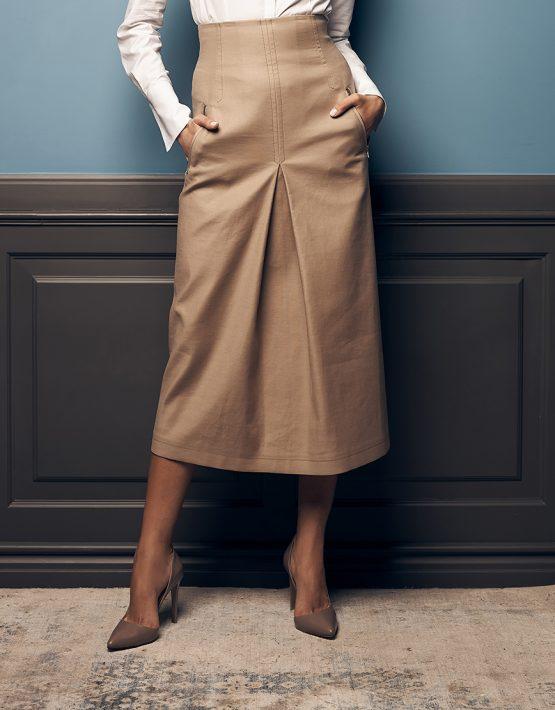Хлопковая юбка со складкой SOL_SOW2019SK10_outlet, фото 3 - в интеренет магазине KAPSULA
