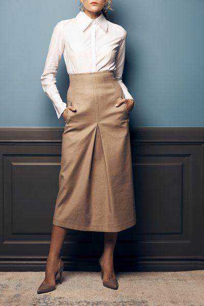 Хлопковая юбка со складкой SOL_SOW2019SK10_outlet, фото 5 - в интеренет магазине KAPSULA