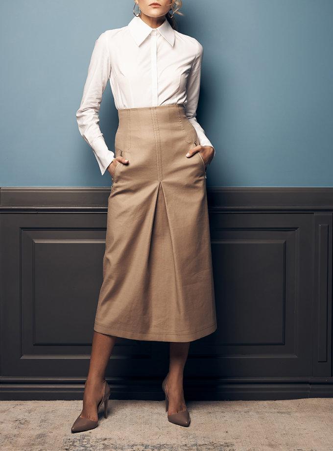 Хлопковая юбка со складкой SOL_SOW2019SK10_outlet, фото 1 - в интернет магазине KAPSULA