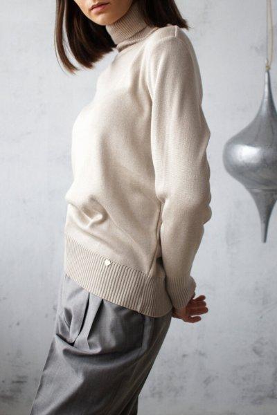 Гольф тонкий на манжетах NBL_02-GTV-beige, фото 1 - в интеренет магазине KAPSULA