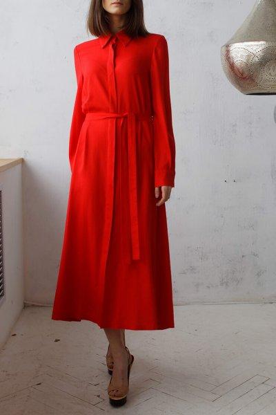 Платье-рубашка миди FRBC_09-PMR, фото 1 - в интеренет магазине KAPSULA
