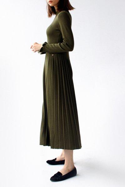 Платье с плиссированной юбкой FRBC_09-PTV-khaki, фото 4 - в интеренет магазине KAPSULA