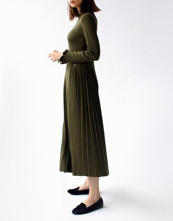 Платье с плиссированной юбкой FRBC_09-PTV-khaki, фото 2 - в интеренет магазине KAPSULA