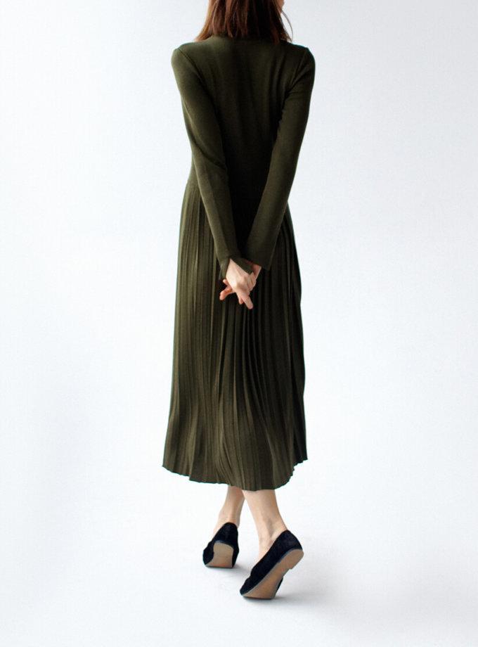 Платье с плиссированной юбкой NBL_09-PTV-khaki_outlet, фото 1 - в интеренет магазине KAPSULA