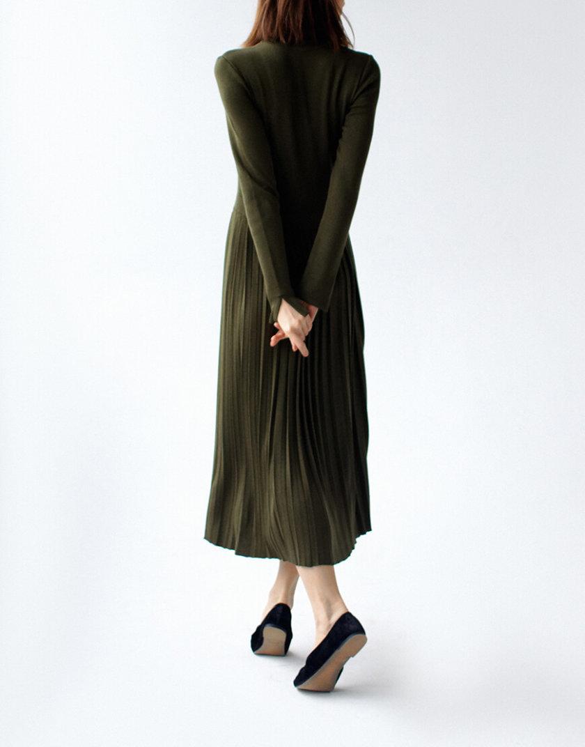 Платье с плиссированной юбкой NBL_09-PTV-khaki_outlet, фото 1 - в интернет магазине KAPSULA