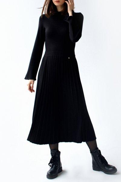 Платье с плиссированной юбкой FRBC_09-PTV-black, фото 1 - в интеренет магазине KAPSULA