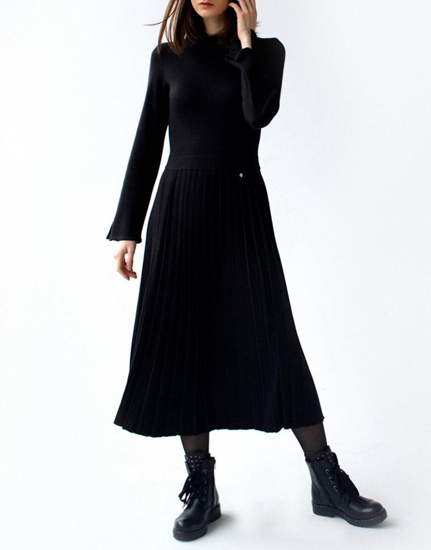 Платье с плиссированной юбкой NBL_09-PTV-black_outlet, фото 1 - в интернет магазине KAPSULA