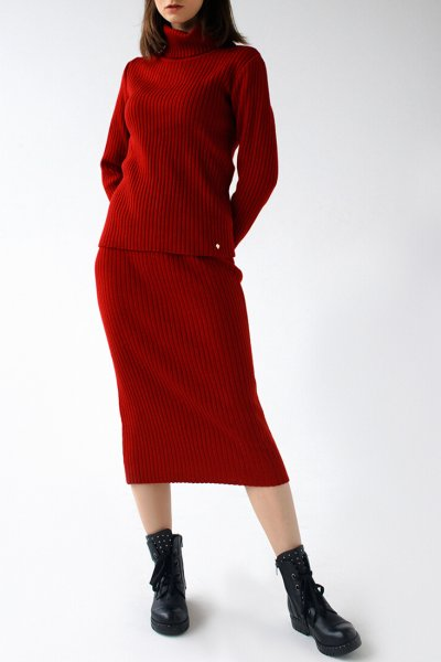 Вязаный костюм с шапкой FRBC_12-KTU-red, фото 1 - в интеренет магазине KAPSULA