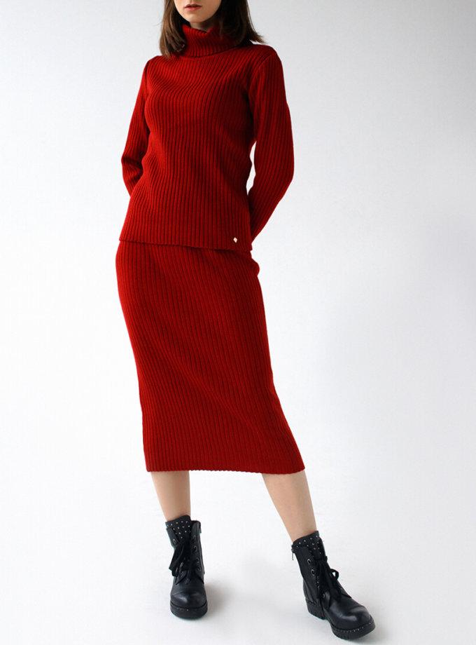 Вязаный костюм с шапкой NBL_12-KTU-red_outlet, фото 1 - в интернет магазине KAPSULA