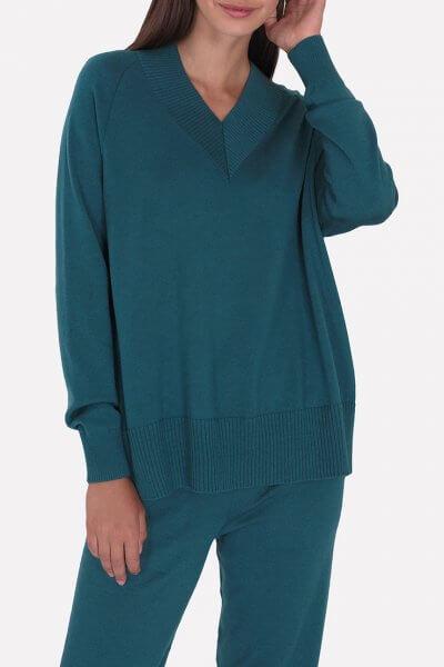Объемный  мериносовый джемпер JND_18-010222-turquoise, фото 1 - в интеренет магазине KAPSULA