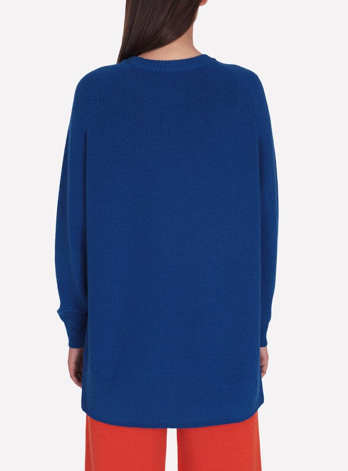 Удлиненный мериносовый джемпер JND_19-010224-blue, фото 1 - в интеренет магазине KAPSULA