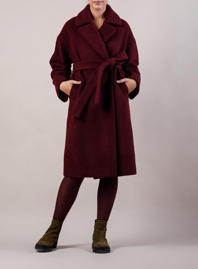 Утепленное пальто из шерсти MMT_081-burgundy, фото 1 - в интеренет магазине KAPSULA