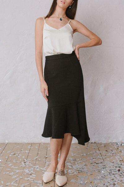 Ассиметричная юбка с воланом MNTK_MTSK193, фото 1 - в интеренет магазине KAPSULA