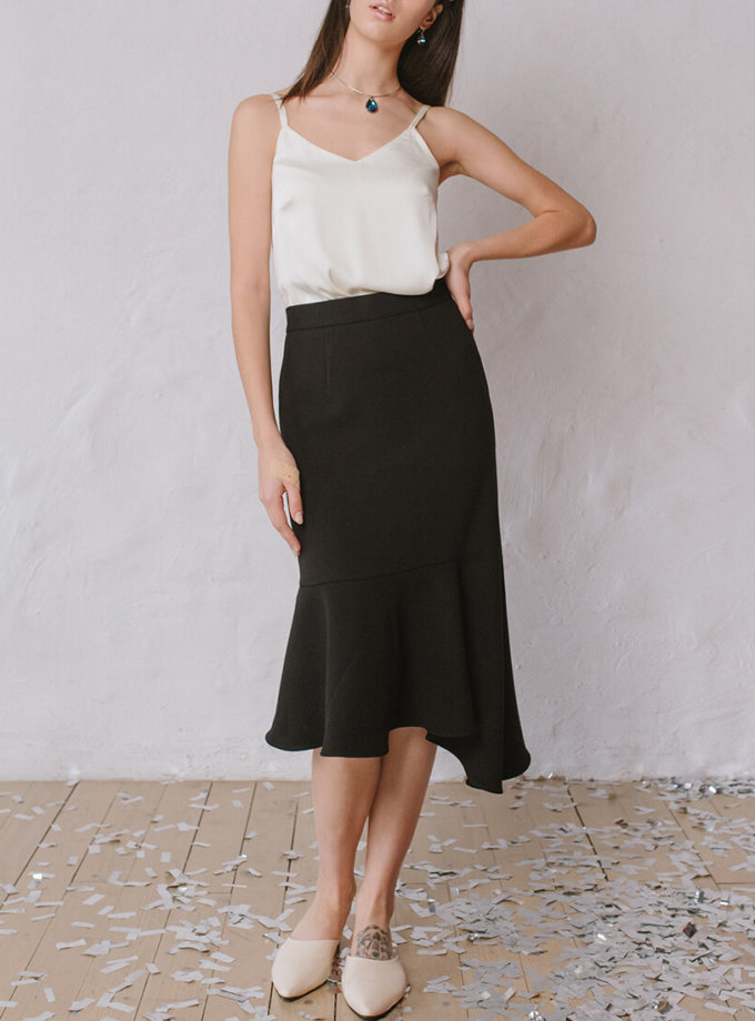 Асимметричная юбка с воланом MNTK_MTSK193, фото 1 - в интернет магазине KAPSULA