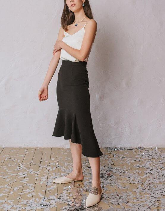Асимметричная юбка с воланом MNTK_MTSK193, фото 3 - в интеренет магазине KAPSULA
