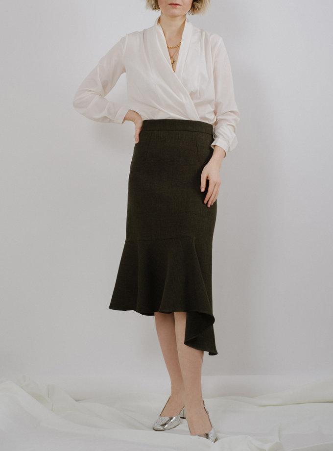 Асимметричная юбка с воланом MNTK_MTSK194, фото 1 - в интернет магазине KAPSULA