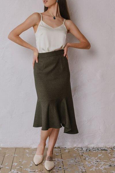 Ассиметричная юбка с воланом MNTK_MTSK194, фото 1 - в интеренет магазине KAPSULA