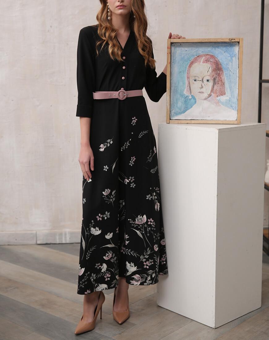 Платье миди в уветочный принт VONA_FW-19-20-80, фото 1 - в интеренет магазине KAPSULA
