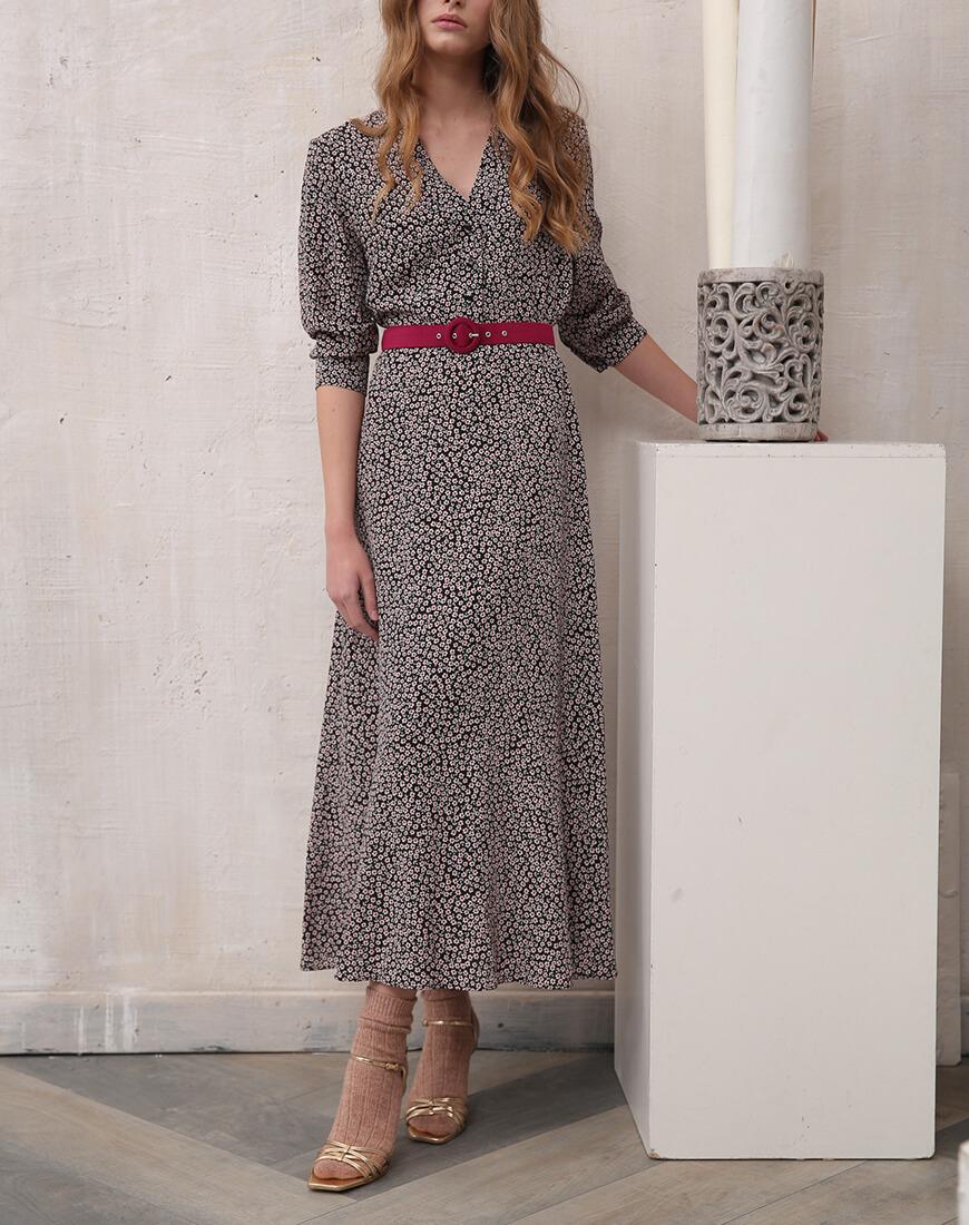 Платье миди в цветочный принт VONA_FW-19-20-84, фото 1 - в интеренет магазине KAPSULA