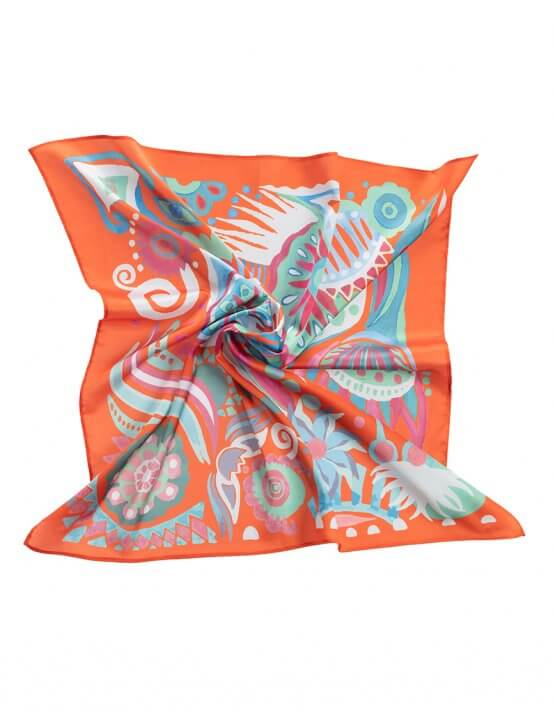Шелковый платок Бирюзовые бусы 50*50 OLZ_KS_SS166, фото 5 - в интеренет магазине KAPSULA
