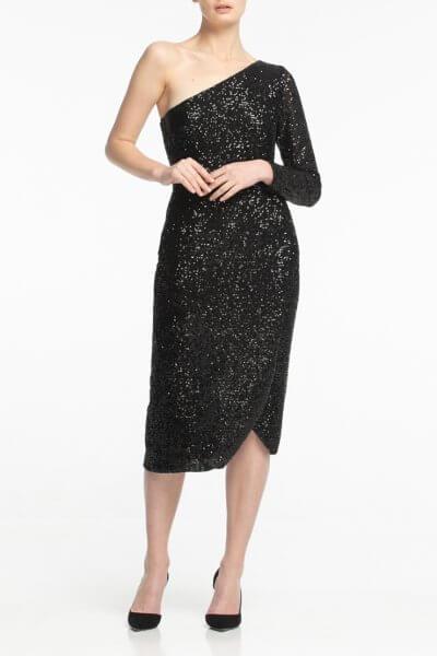 Платье в пайетки на одно плечо ALOT_100364, фото 2 - в интеренет магазине KAPSULA