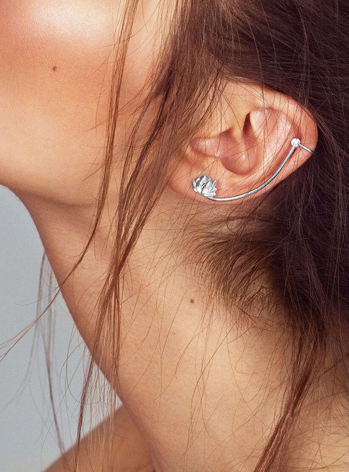 Кафф лотос из серебра BLU на левое ухо YSB_C-790-5L-blu, фото 1 - в интернет магазине KAPSULA