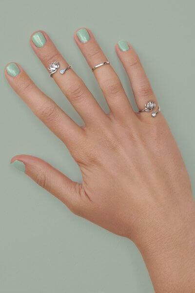 Серебряное кольцо на фалангу лотос BLU YSB_К-791-2-blue, фото 4 - в интеренет магазине KAPSULA