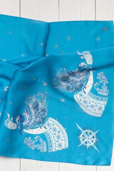 Платок с ангелами из шелка 100*100 OLZ_KS_SS174, фото 1 - в интеренет магазине KAPSULA